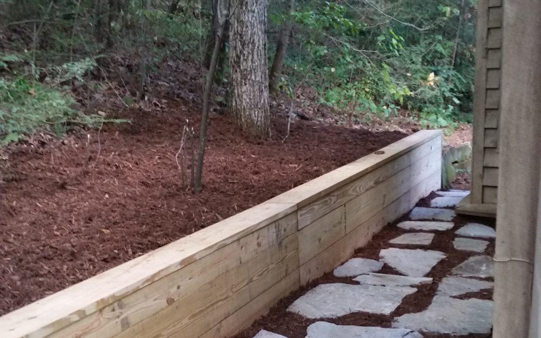 Wood Beam Retaining Wall