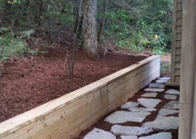 Wood Beam Retaining Wall